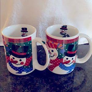 Fine China porcelain set of two,Christmas mugs
